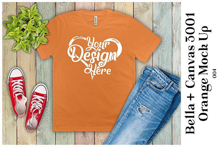 Mens T-Shirt Mockup Orange Bella Canvas 3001 Mock up