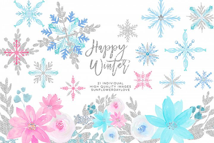 Winter onederland clipart, winter snowflakes clipart