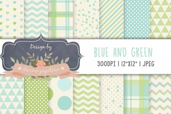 Green and blue digital paper, plaid paper, blue and green