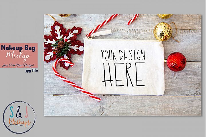 Christmas makeup bag mockup, holiday mockup, design mockup