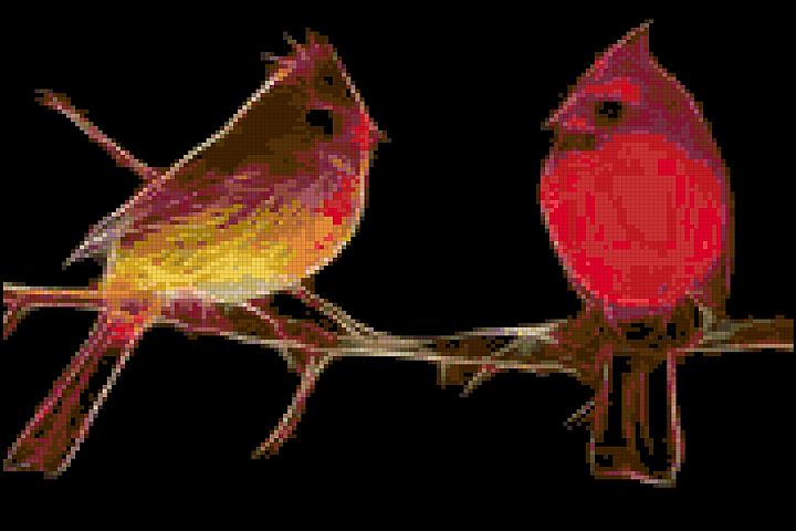 Fractal Cardinals Cross Stitch Pattern
