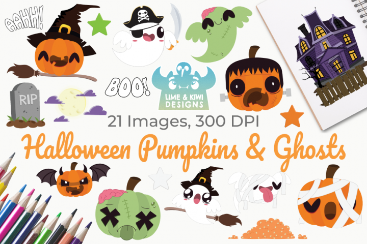Halloween Pumpkins and Ghosts Clipart, Instant Download