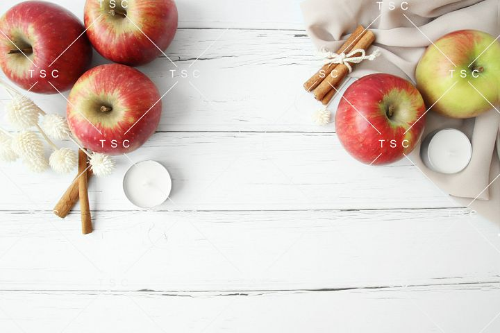 Fall Styled Stock Photo / Apple / Cinnamon / White Wood