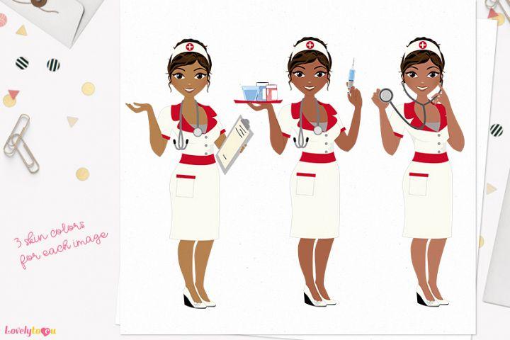 Nurse woman character clip art L402 Cassie