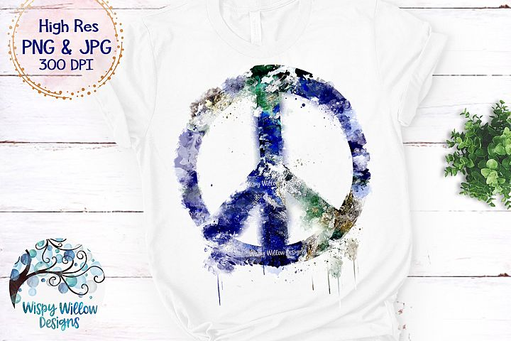 Grunge Watercolor Earth Peace Sign PNG | Sublimation