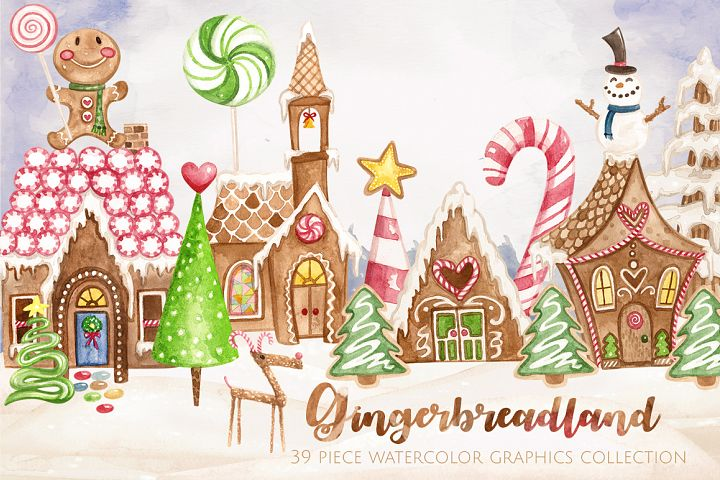 Gingerbreadland Watercolor Collection