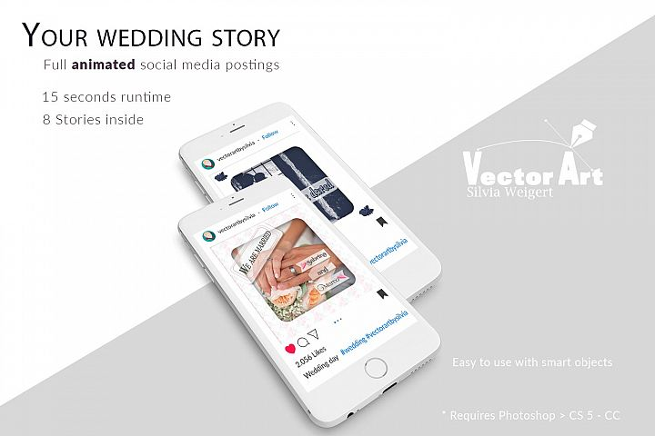 MOCKUP - Animated Instagram templates, Wedding, inc. custom example 7