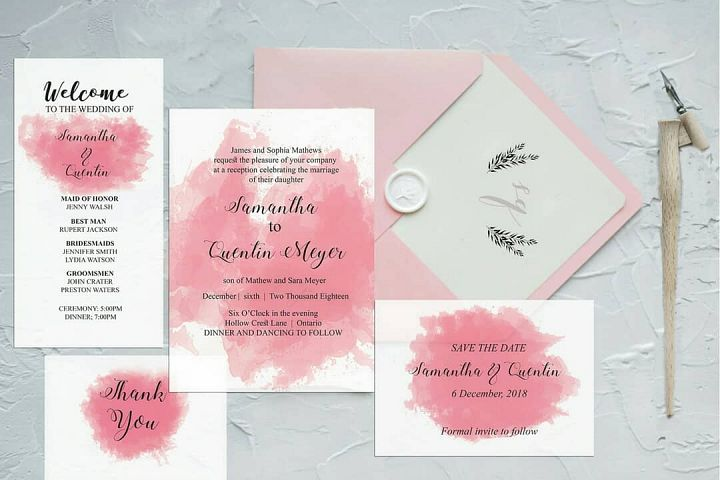 Pink Watercolor Wedding Invite Bundle