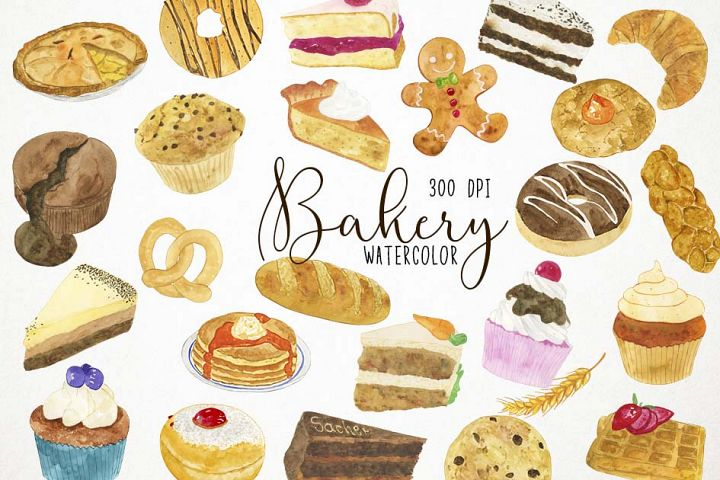 Watercolor Bakery Clipart, Bakery Clip Art, Bakery PNG