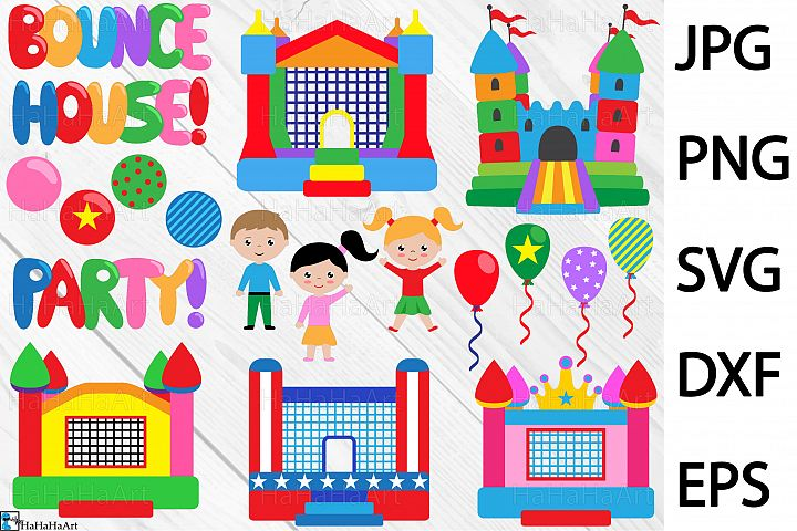 Bounce House Party - Clip art / Cutting Files 300c