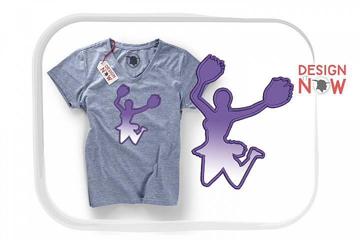 Cheerleader Applique Design, Cheer Embroidery, Sport Design