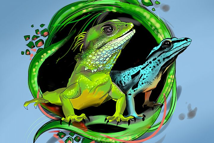 Lizard cartoon.Reptile emblem.
