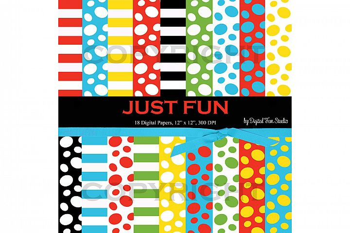 Fun Papers, 18 Digital Papers in Dots and Stripes