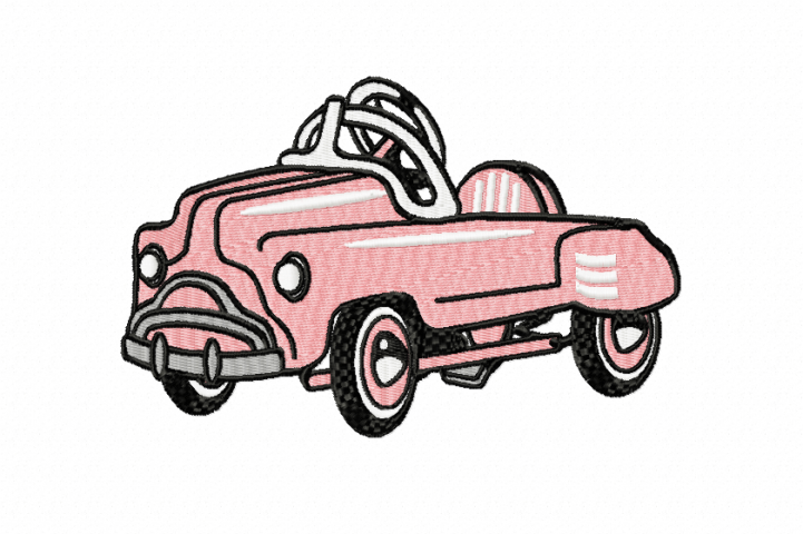 RETRO Pedal Car ~ Machine Embroidery Design in 2 sizes - Instant Download ~ Hurtling Down the Hill in our Pedal Cars
