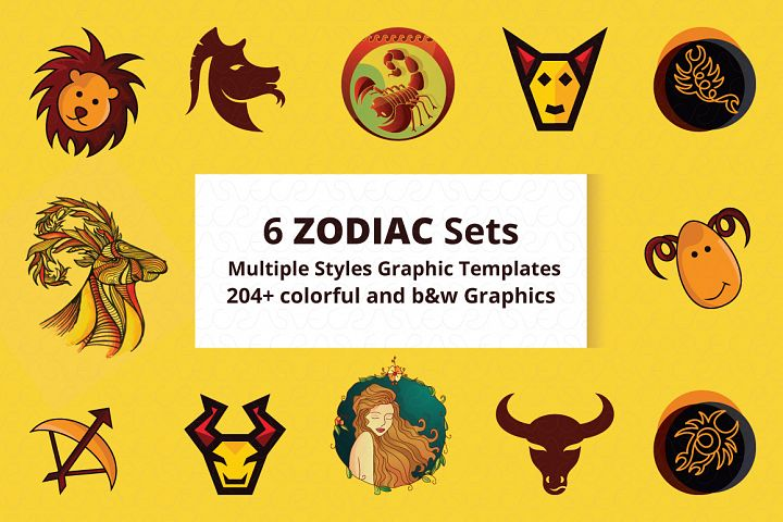6 zodiac sets 204 illustrations multiple style graphics