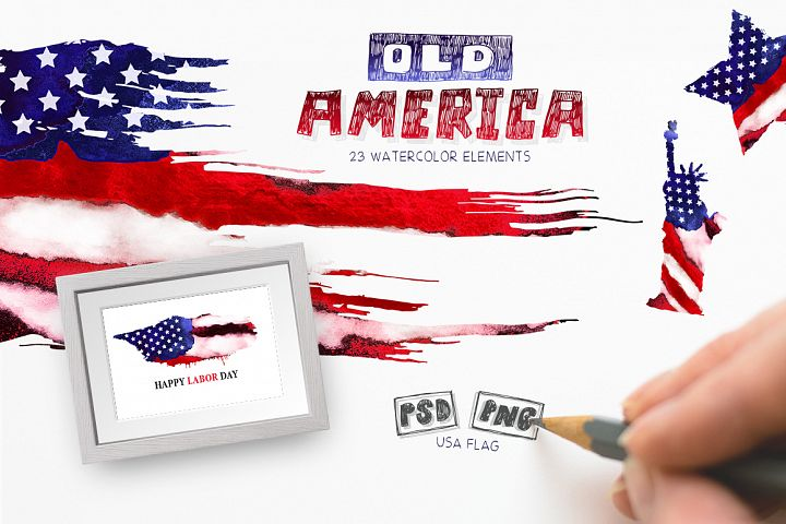 Old America. Watercolor Flag USA. Grunge elements.
