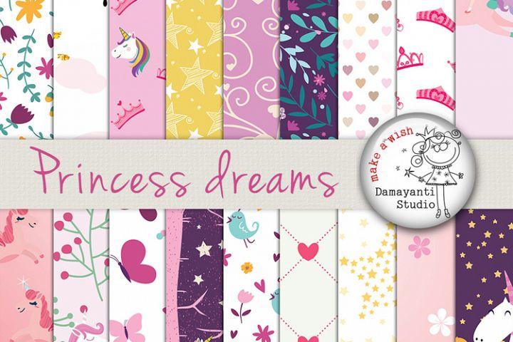 Princess dreams digital papers, craft papers