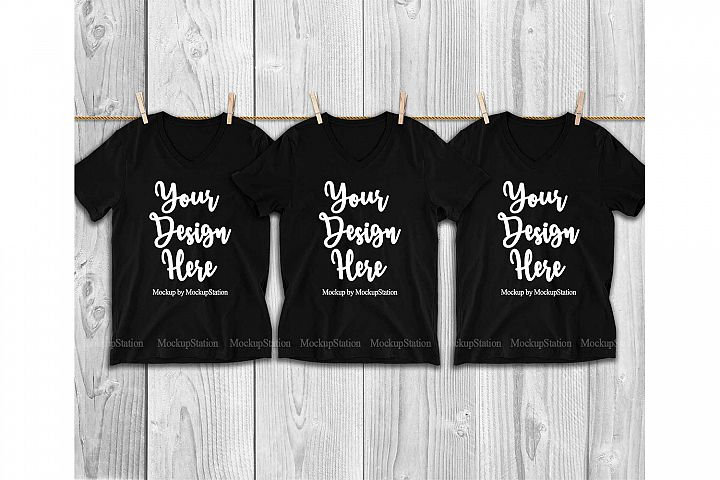 3 Black V-Neck Shirts Mockup, Matching Group Tee Mock Up
