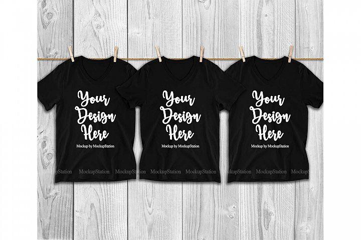 3 Black V-Neck Shirts Mockup, Matching Group Tee Mock Up