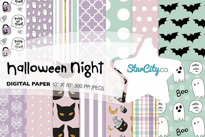 Hand Drawn Halloween Digital Paper in Pastel Colors