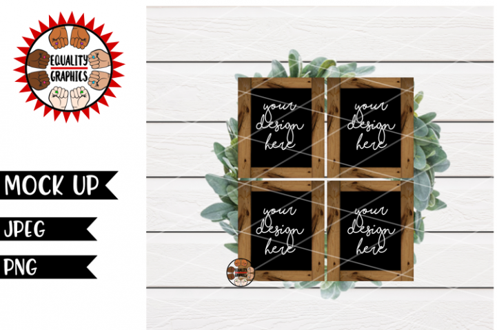 Four Black Wood Signs Mock Up | JPEG | PNG