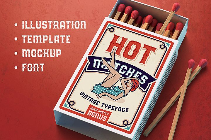 Hot Matches. Font, Mockup, Template!