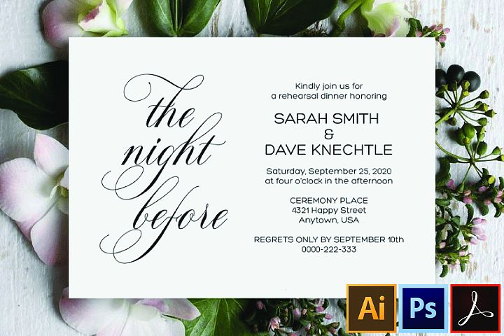 Printable Rehearsal Dinner Invitation , The Night Before