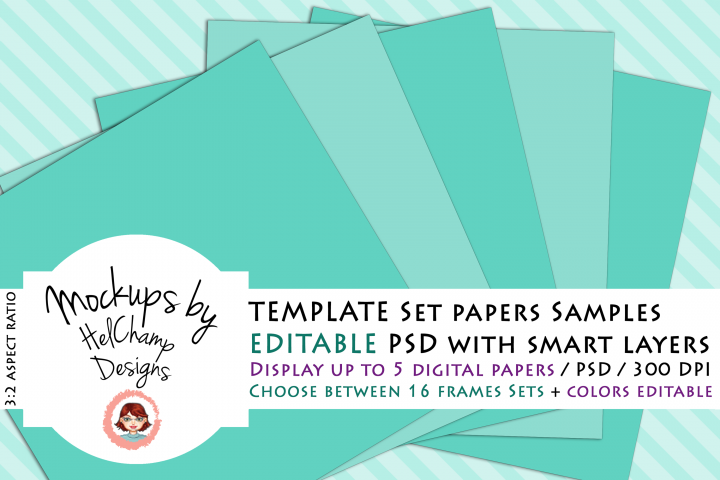 3 Panels Mockup for Digital Papers - M06