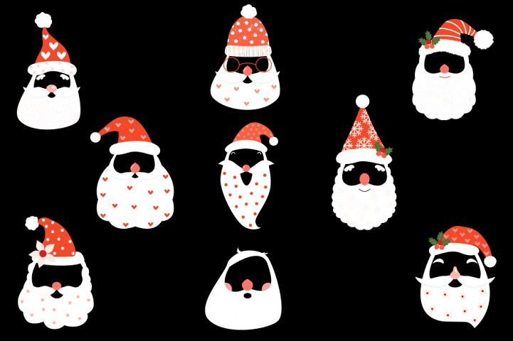 Cute hipster Santa face mask clipart with hat beard mustache