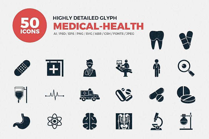 Glyph Medical Icons Set