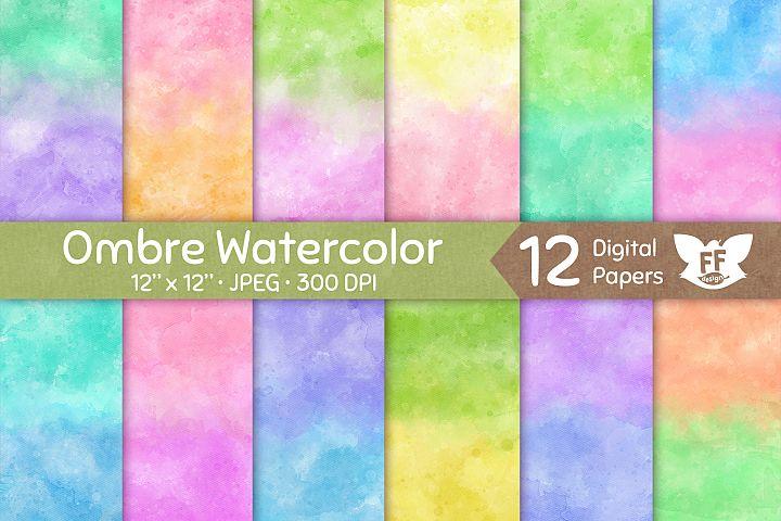 Soft Pastel Watercolor Textures - Gradient Digital Paper Set