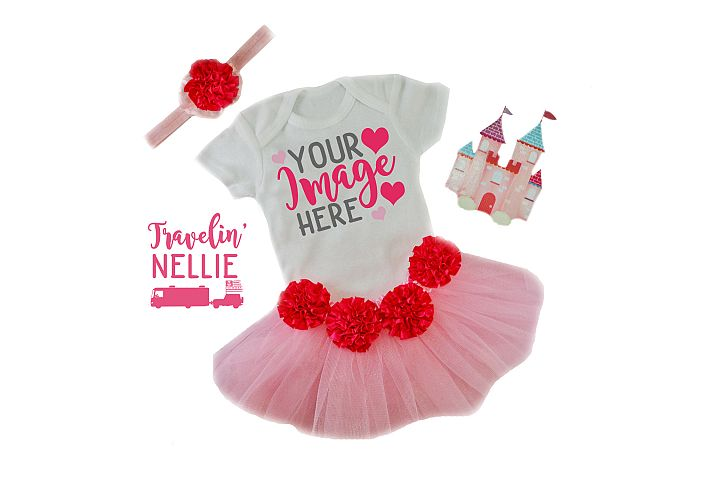 White Bodysuit Mockup Flat Lay Baby Girl Pink Tutu Princess