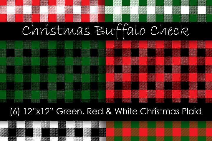 Christmas Plaid Digital Papers - Christmas Buffalo Check