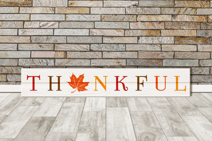 Thankful Thanksgiving Porch Sign with Maple Leaf SVG Design