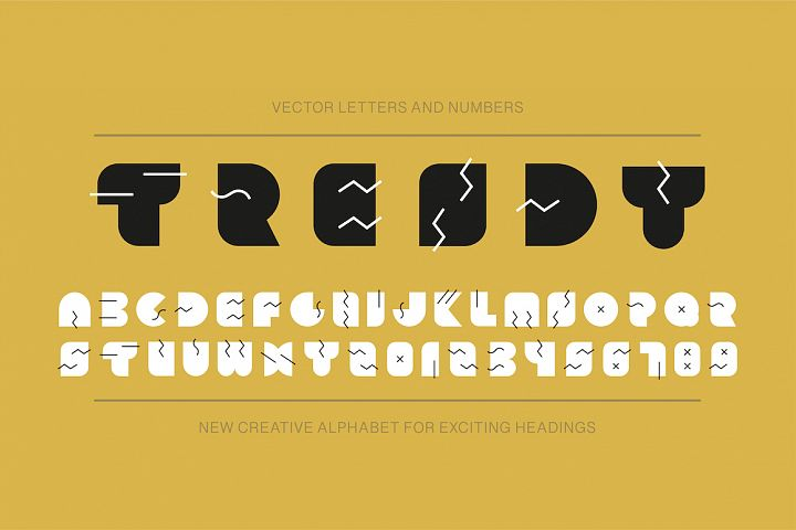 Memphis trendy english alphabet