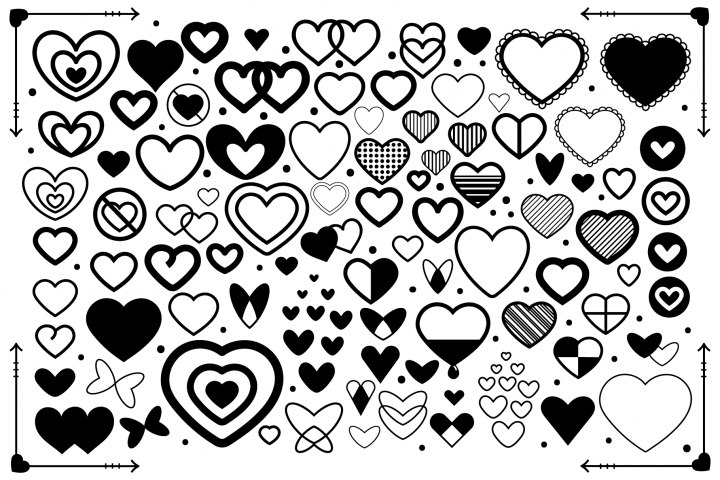 Simple Doodle Heart Clip Art Set