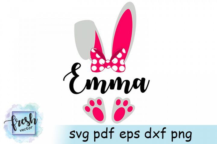 Easter Bunny Monogram Svg Easter Monogram Girl Bunny Svg