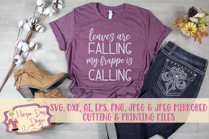 Leaves Falling Frappe Calling SVG, DXF, AI, EPS, PNG, JPEG