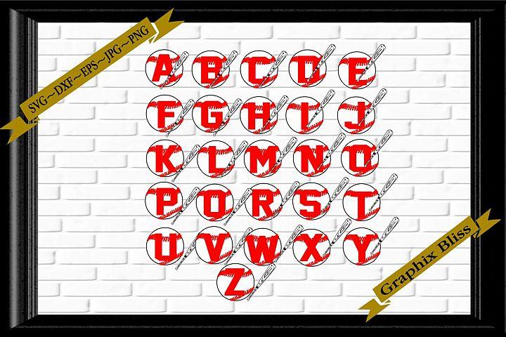 Baseball Softball Alphabet Letters With Bat Bundle SVG