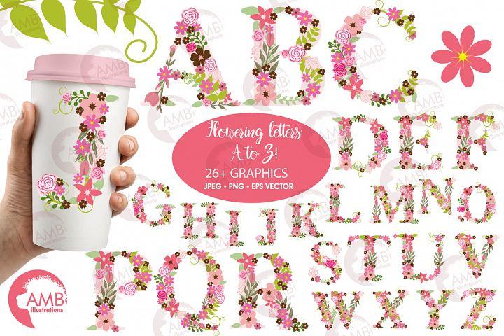 Floral alphabet clipart, graphics, illustrations AMB-1104