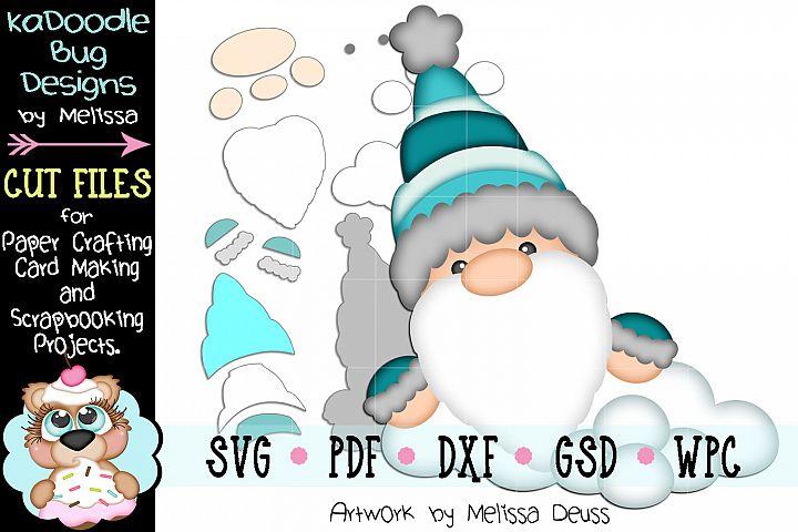Winter Gnome Peeker Cut File - SVG PDF DXF GSD WPC