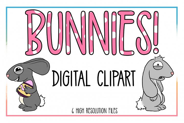Bunnie Clipart-Rabbit Clipart-Animal Clipart-Easter-Egg-Spring Animals-Spring-Spring Clipart-Easter Egg-Bunnie-Decoration-Digital Clipart - Free Design of The Week Font
