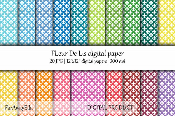 Fleur De Lis JPG digital paper | 20 seamless backgrounds