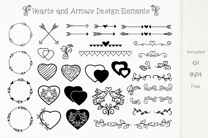 Hand Drawn Hearts and Arrows - Design Elements - Vector
