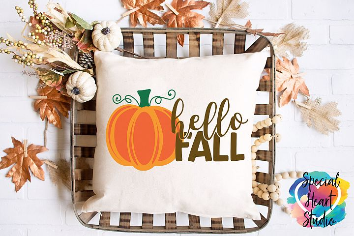 Hello Fall SVG - Home decor, sign, pillow SVG cut file