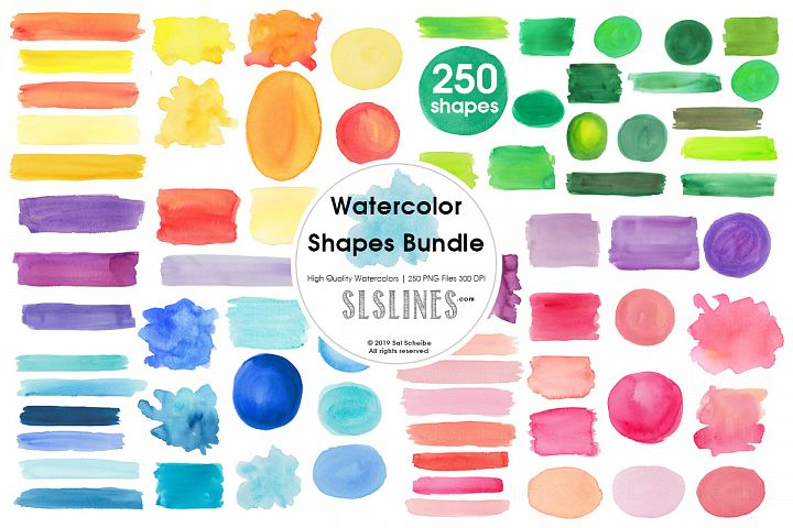 Watercolor shapes bundle - balls, stripes, boxes