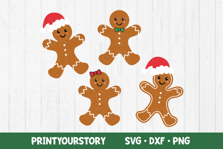 Christmas Gingerbreads Clipart Set - SVG DXF PNG files