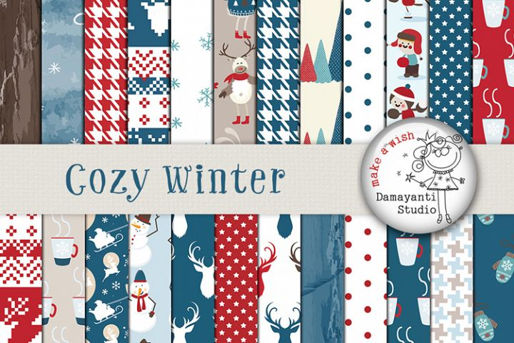 Cozy winter papers, Digital papres, Christmas papers
