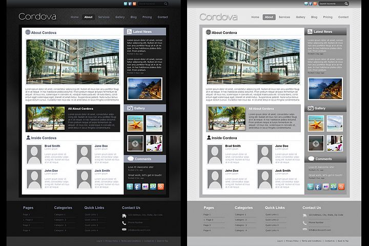 Cordova - PSD Website 7 page Template Simple Elegant