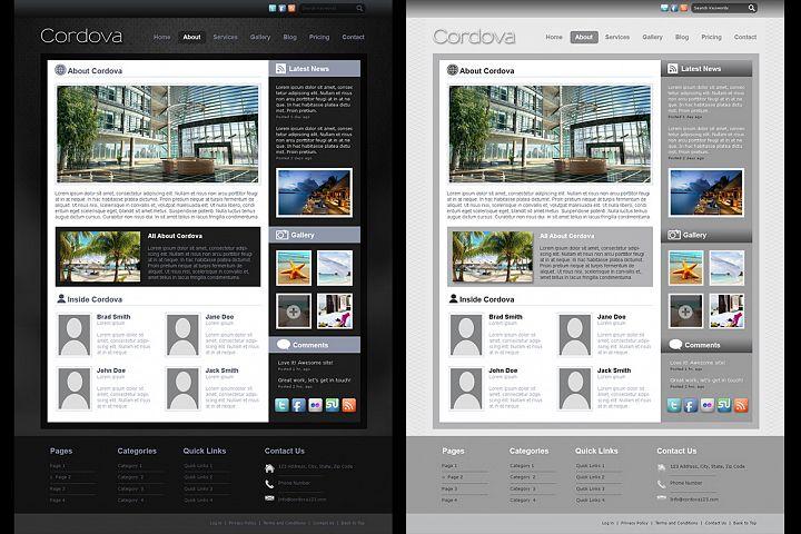 Cordova - PSD Website 7 page Template Simple Elegant